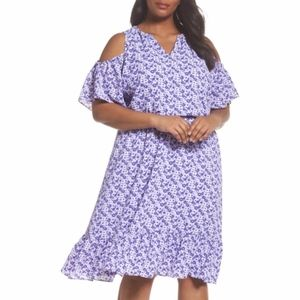 NEW Michael Kors Floral Cold Shoulder Midi Dress